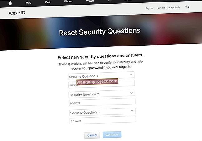 Как да променя отговорите на въпросите за сигурност за Apple ID?